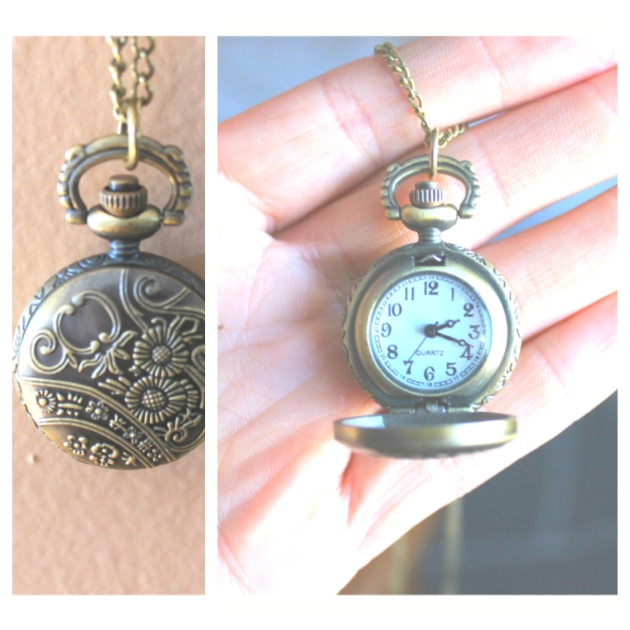 clock necklace picstich